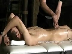 Bound Brez Wild gets his cock electrocuted by Sebastian