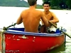 Hot boys rowing in a boat and fucking on the beach