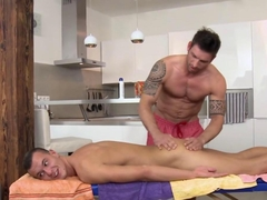 Masseur sucks a straightys cock like a vacuum