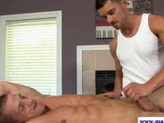 Straight jock has his cut cock sucked on