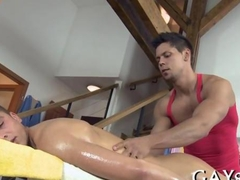 Getting his asshole fucked during the massage