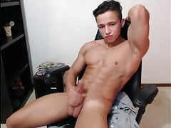 Young hunk twink with perfect body and cock cums