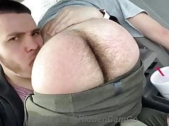 Hairy ass in the car